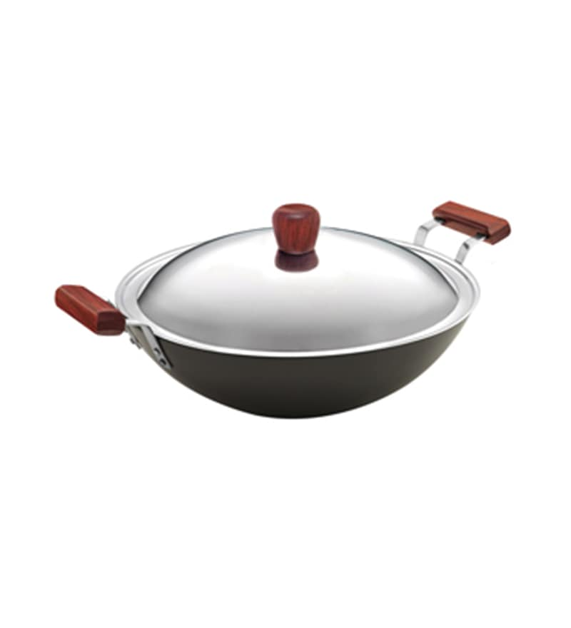 Stainless Steel 5 L Hard Anodised Deep Frypan with Lid by Hawkins