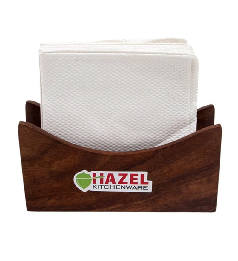 Hazel Half Round Brown Wood Tissue Stand
