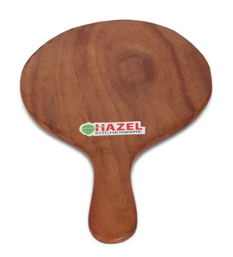 Hazel Round & Slim Brown Wood Pizza Plate