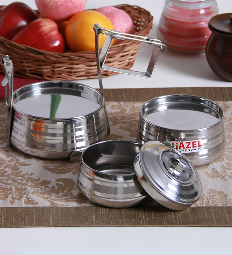 Hazel Silver Stainless Steel Tiffin Pyramid - Set of 3 with Free 3 Pc Scoop Set