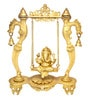 Yellow Brass Ganesha on Designer Curved Pillar Jhoola Showpiece by Handecor