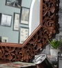 Brown Solid Wood Carved Framed Decorative Mirror by Hanumant