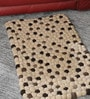 Beige & Brown Wool 32 x 20 Inch Reversible Felt Ball Bed Side Carpet by HDP