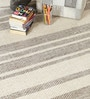 Beige & Brown Wool 80 x 56 Inch Hand Made Flat Weave Kilim Carpet by HDP
