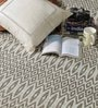 HDP Beige & White Wool 80 x 56 Inch Hand Woven Flat Weave Area Rug