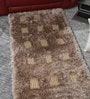 HDP Beige Polyester & Wool 54 x 28 Inch Hand Made Tufted Shaggy Carpet