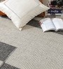 Black & Grey Wool 80 x 56 Inch Hand Made Flat Weave Kilim Carpet by HDP