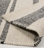 Black & White Wool 80 x 56 Inch Hand Made Flat Weave Kilim Carpet by HDP