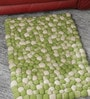 Green & White Wool 32 x 20 Inch Reversible Felt Ball Bed Side Carpet by HDP