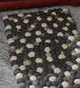 Grey & White Wool 32 x 20 Inch Reversible Felt Ball Bed Side Carpet by HDP