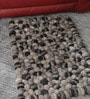 Grey Wool 32 x 20 Inch Reversible Felt Ball Bed Side Carpet by HDP