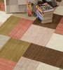 Multicolour Wool 80 x 56 Inch Hand Woven Patchwork Area Rug by HDP