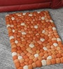 Orange Wool 32 x 20 Inch Reversible Felt Ball Bed Side Carpet by HDP