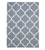 Sky Blue & White Wool 55 x 79 Inch Tufted Carpet by HDP