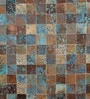 Tan & Turquoise Leather 80 x 56 Inch Hand Made Carpet by HDP