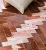 Tan Pink Leather 72 x 48 Inch Hand Made Carpet by HDP