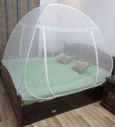 Healthgenie Premium Double Bed White Polyester Foldable Mosquito Net