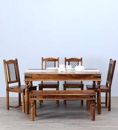 Henfrey Six Seater Dining Set In Provincial Teak Finish