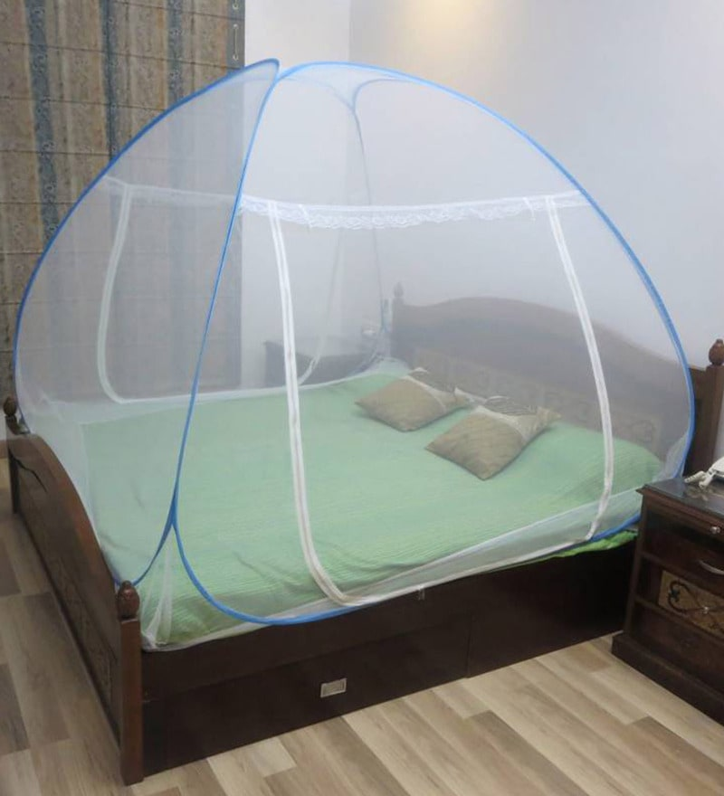 Healthgenie Premium Double Bed Blue Polyester Foldable Mosquito Net