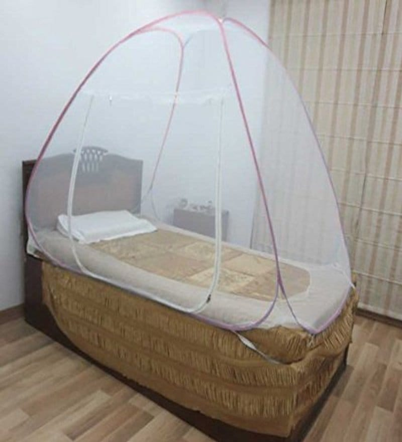 Healthgenie Single Bed Pink Polyester Mosquito Net