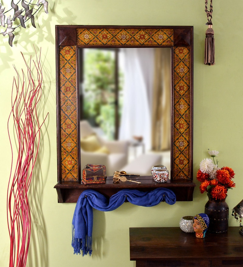 Multicolour Wooden Painted with Bottom Stand Framed Decorative Mirror by Heera Hastkala