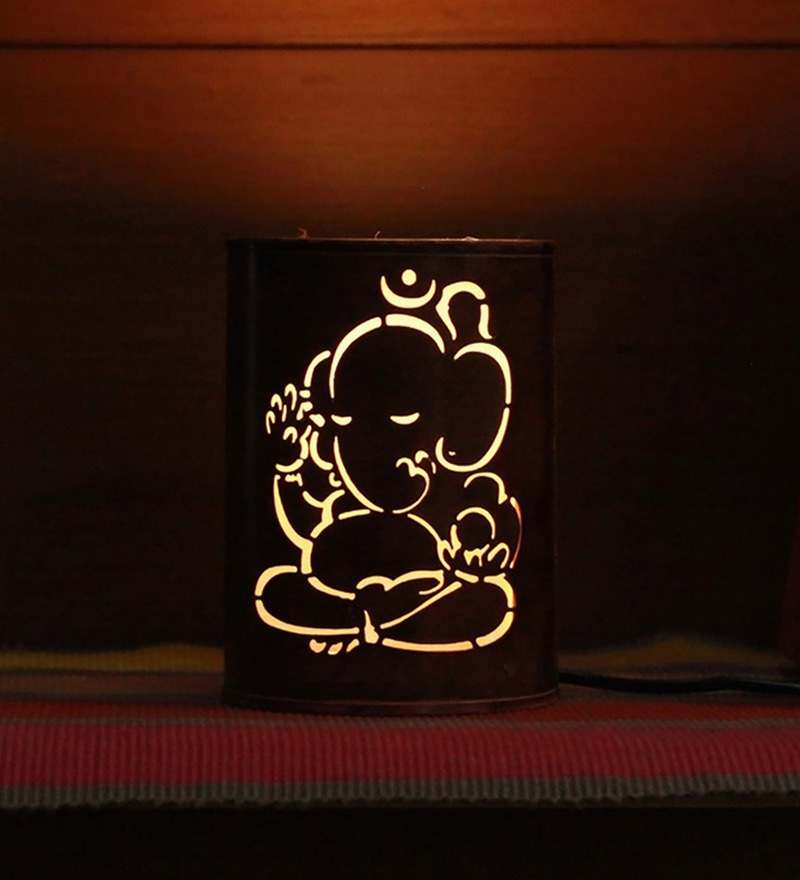 Brown Metal Ganesha Night Lamp by Height of Designs
