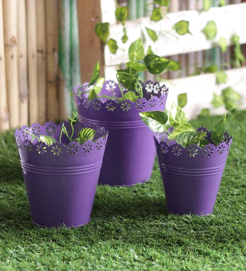 Purple Iron Planter - Set of 3 by Height of Designs