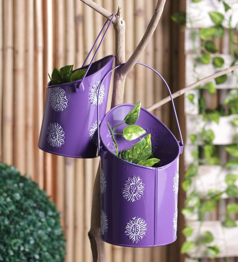 Purple Iron Bucket Planter Set by Height of Designs
