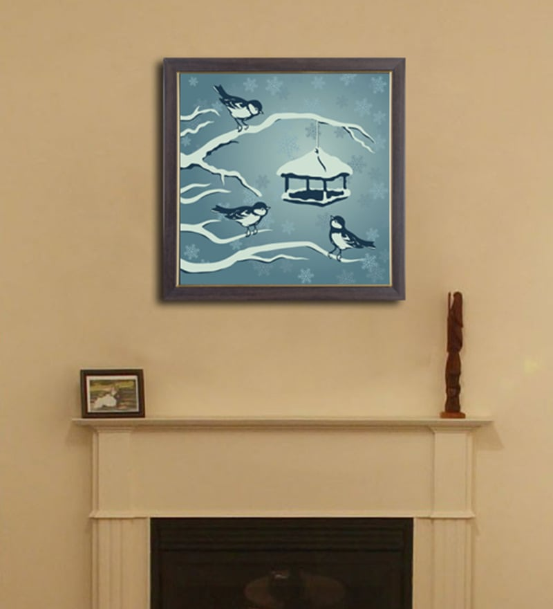 PVC 12 x 12 Inch Birds in Snow Framed Wall Painting by Height of Designs