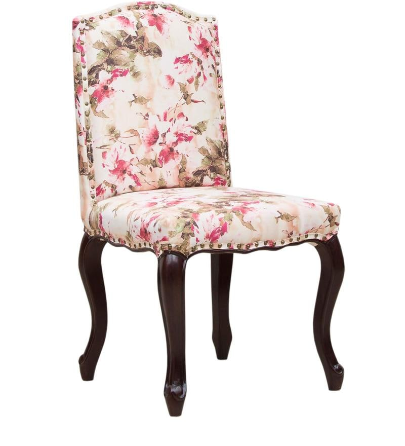 Buy Lorraine Dining Chair In Salmon Pink Floral Print By