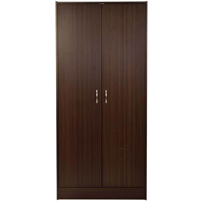 Buy Two Door Wardrobe In Dark Brown Finish By Mintwud