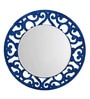 Height of Designs Blue Engineered Wood Floral Mirror