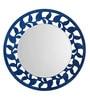 Aasra Blue Engineered Wood Leaf Border Mirror