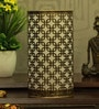 Gold and Black Iron Squares In Squares Table Lamp by Height of Designs