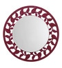 Height of Designs Pink Engineered Wood Leaf Border Mirror