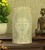 White and Blue Iron Budha Table Lamp by Height of Designs