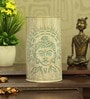 White and Blue Iron Holy Budha Table Lamp by Aasras