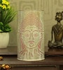 White and Pink Iron Budha Table Lamp by Aasras