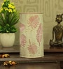 White and Pink Iron Palm Tree Leaf Table Lamp by Height of Designs