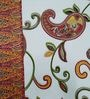 Heritage Fabs Orange Cotton Floral Double Bed Sheet (with Pillow Cover) - Set of 3