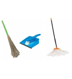 HIC Plastic Clip N Fit Cotton Mop With Grass Broom & Dust Pan