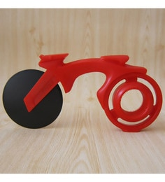 Hitplay Bike Red Plastic & Stainless Steel Pizza Cutter With Bottle Opener