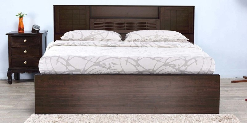 Hideki Blackline Queen Size Bed with Storage in Walnut Finish by Mintwud