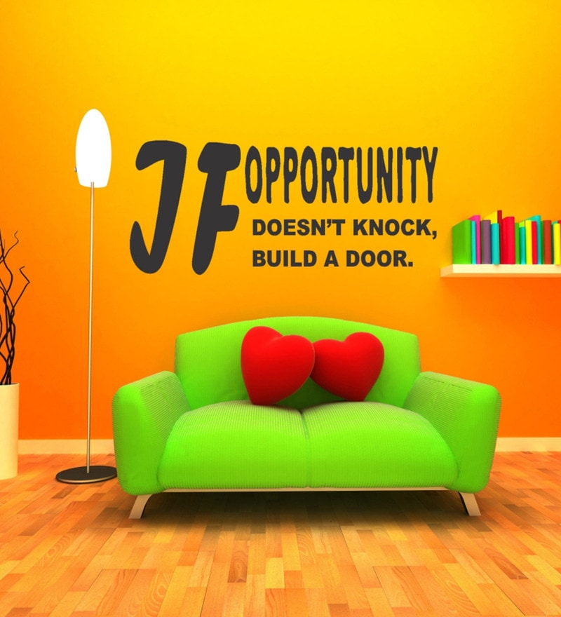 Black Self Adhesive Polyvinyl Film Opportunity Inspiration Quote Wall Decal by Highbeam Studio