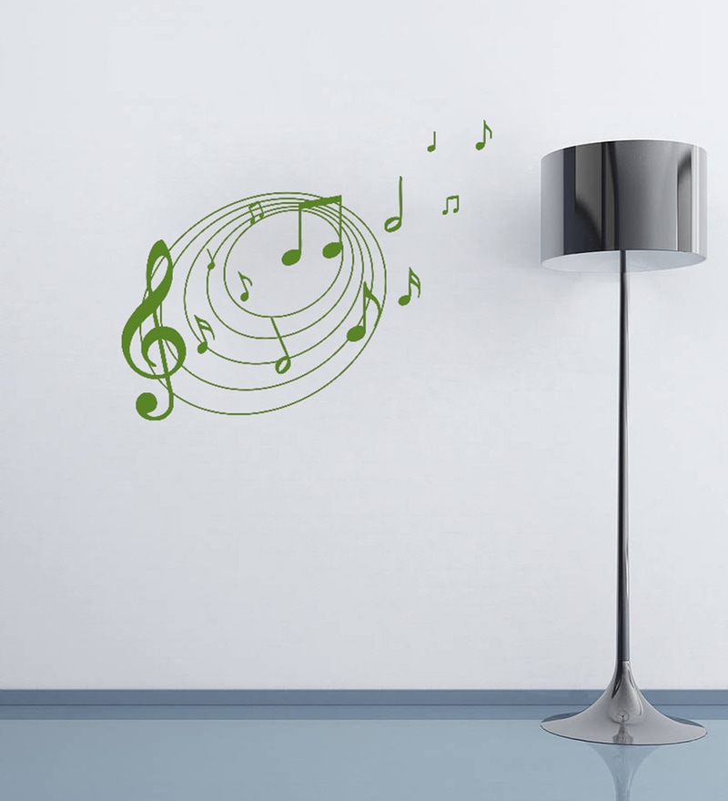 Green Self Adhesive Polyvinyl Film Musical Notes Wall Decal by Highbeam Studio
