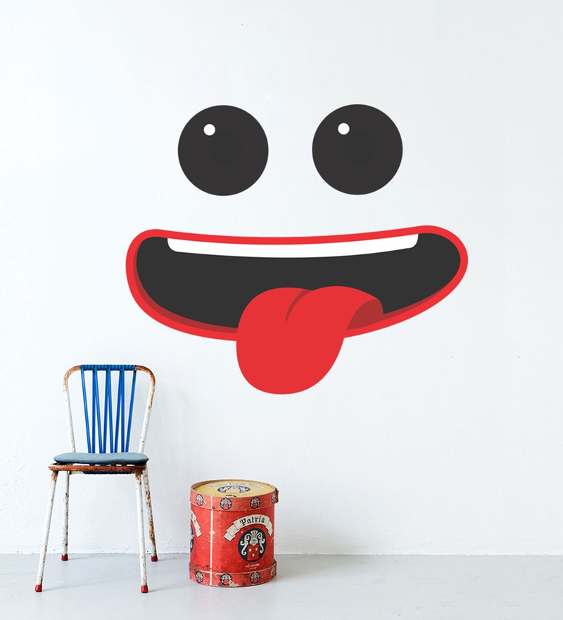 Multicolour Self Adhesive Polyvinyl Film Funny Face Wall Decal by Highbeam Studio