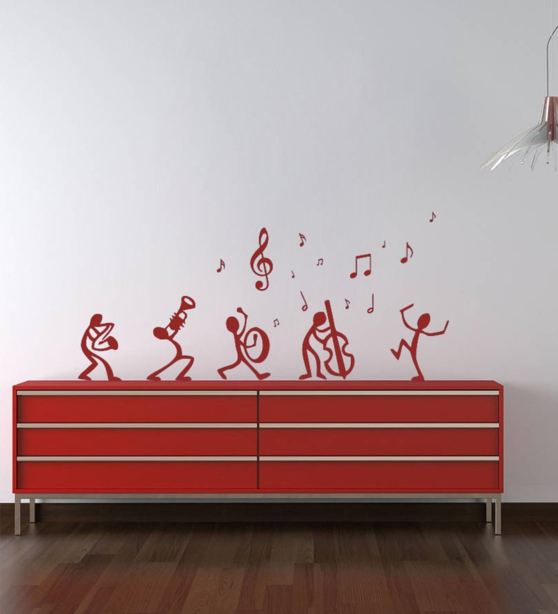 Red Self Adhesive Polyvinyl Film Dancing Notes Wall Decal by Highbeam Studio