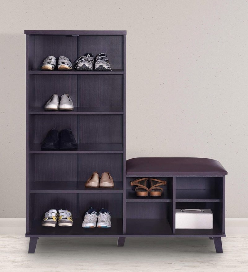 Hikaro Shoe Rack in Walnut Finish by Mintwud