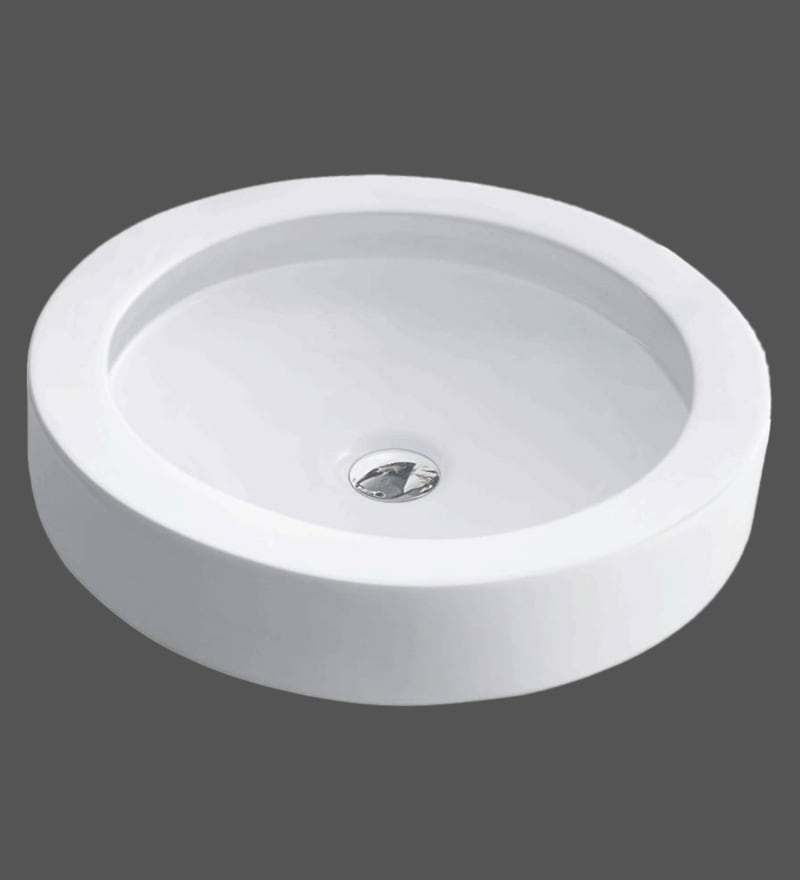 Hindware Splendor Round Star White Ceramic Basin (Model: 91082)