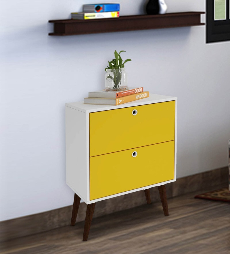 Hisa  Chest of Drawers  in White & Yellow Finish by Mintwud